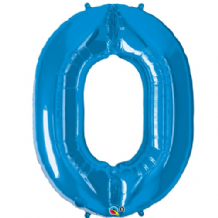 "Blue Number 0 Balloon - Foil Number Balloon 1pc (34"" Qualatex)"